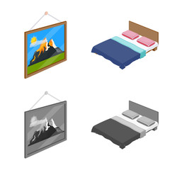 Isolated object of bedroom and room sign. Collection of bedroom and furniture stock vector illustration.