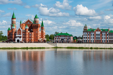 View on medieval castle in Flemish style and other facades decoration. Downtown of Yoshkar-Ola city, Russia.