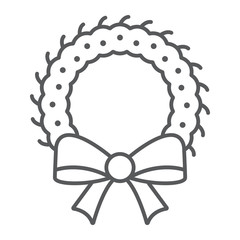 Christmas wreath thin line icon, xmas and winter, decoration sign, vector graphics, a linear pattern on a white background.