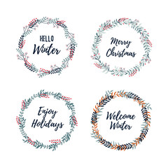 Set of Christmas wreath. Merry Christmas and Happy New Year 2019 greeting card.