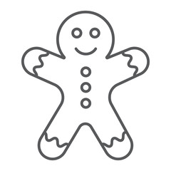 Gingerbread man thin line icon, christmas and sweet, cookie sign, vector graphics, a linear pattern on a white background.