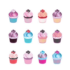 Set of 12 cute cupcakes isolated on white background. Vector illustration