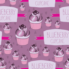 Beautiful yummy blueberry cupcake seamless background pattern. Vector illustration