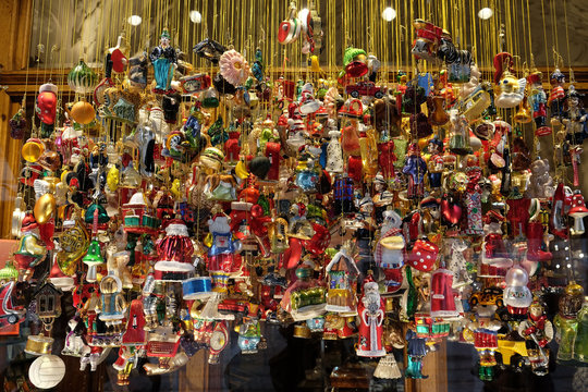 Stall with decorations for winter holidays at traditional annual Christmas market in Zagreb, Croatia