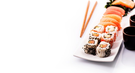 Foto op Plexiglas Sushi bar Sushi set isolated over white