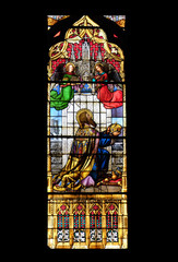 Saint Stephen of Hungary, stained glass in Zagreb cathedral dedicated to the Assumption of Mary