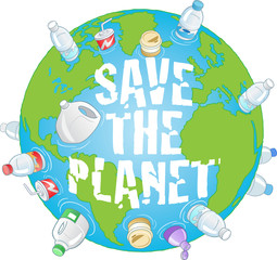 Save the Planet pollution vector