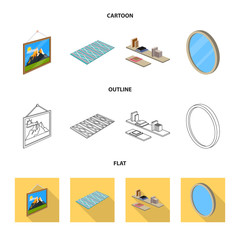 Isolated object of bedroom and room icon. Set of bedroom and furniture stock symbol for web.