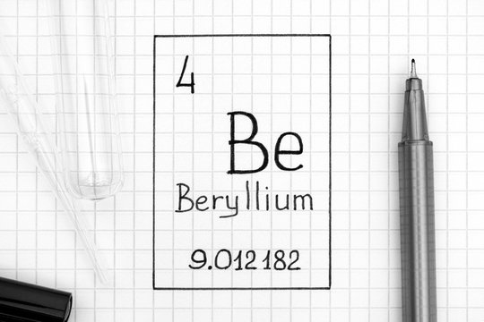 Handwriting chemical element Beryllium Be with black pen, test tube and pipette.