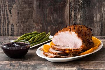 Tradicional homemade honey Glazed Ham for holidays.