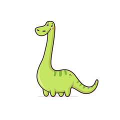 Green cute dinosaur Argentinosaurus vector cartoon kawaii illustration isolated on white