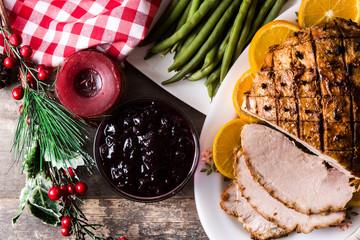 Tradicional homemade honey Glazed Ham for holidays. Top view