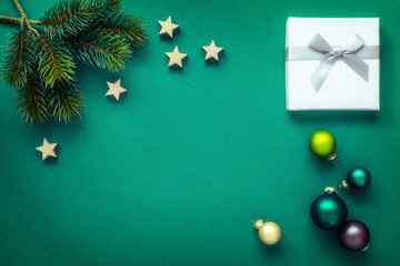 Christmas decoration background green with silver gift box
