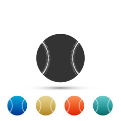 Baseball ball icon isolated on white background. Set elements in colored icons. Flat design. Vector Illustration