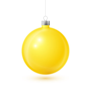 Realistic Yellow Christmas ball with silver ribbon, isolated on white background. Merry Christmas greeting card. Vector illustration