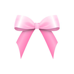 Realistic Shiny Pink Satin Bow isolated on white background. Vector illustration