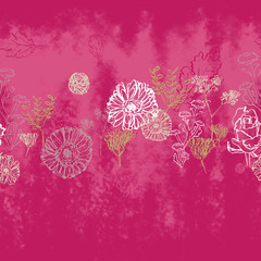 seamless hand painted ink floral pattern artwork