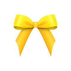 Realistic Shiny Yellow Satin Bow isolated on white background. Vector illustration