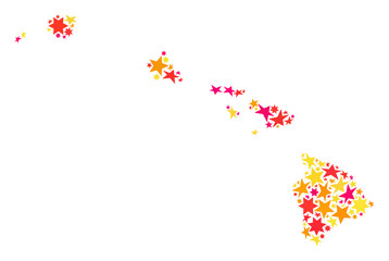 Map of Hawaii State designed with colored flat stars. Vector colored geographic abstraction of map of Hawaii State with red, yellow, orange stars. Festive mosaic design for New Year illustrations.