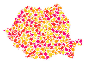 Map of Romania created with colored flat stars. Vector colored geographic abstraction of map of Romania with red, yellow, orange stars. Festive collage design for New Year illustrations.
