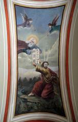 God gives Moses the Ten Commandments, fresco in the church of Saint Matthew in Stitar, Croatia