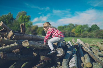 Little toddler is climbing on a pile of logs in the forest