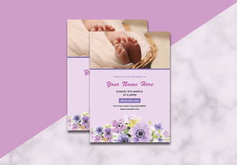 Flyer Layout with Purple Flower Elements