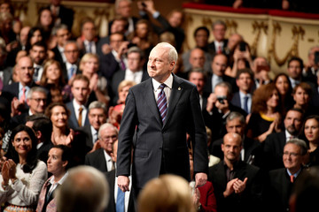 U.S philosophy professor Michael J. Sandel arrives to receive the 2018 Princess of Asturias award for Social Sciences from Spain's King Felipe, during a ceremony at Campoamor Theatre in Oviedo