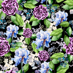 Beautiful bright watercolor pattern with flowers of iris, peony and lavender.