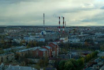 Perm, Russia - October 17, 2018: landscape of a typical ural`s industrial city under a cloudy sky