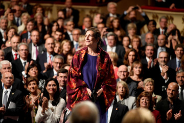 Mexican journalist Alma Guillermoprieto arrives to receive the 2018 Princess of Asturias award for Communication and Humanities from Spain's King Felipe, during a ceremony at Campoamor Theatre in Oviedo