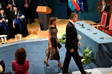 Spain's King Felipe and Queen Letizia arrive to the 2018 Princess of Asturias awards at Campoamor Theatre in Oviedo