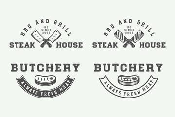 Set of vintage butchery meat, steak or bbq logos, emblems, badge