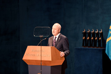 U.S philosophy professor Michael J. Sandel delivers a speech before receiving the 2018 Princess of Asturias award for Social Sciences from Spain's King Felipe, during a ceremony at Campoamor Theatre in Oviedo