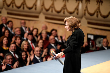 U.S. marine biologist Sylvia A. Earle is applauded after receiving the 2018 Princess of Asturias award for Concord from Spain's King Felipe, during a ceremony at Campoamor Theatre in Oviedo