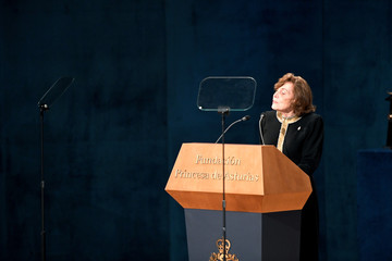 U.S. marine biologist Sylvia A. Earle delivers a speech after receiving the 2018 Princess of Asturias award for Concord from Spain's King Felipe, during a ceremony at Campoamor Theatre in Oviedo