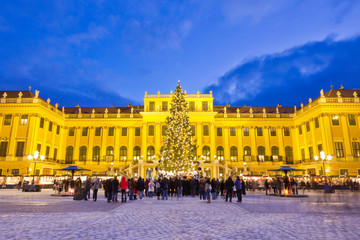 Foto op Canvas Wenen Traditional Christkindlmarkt in Vienna. Christmas market scene with illuminated Schönbrunn palace and fairy lights decorated Christmas tree at dusk.