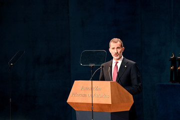 Spain's King Felipe delivers a speech during the 2018 Princess of Asturias awards at Campoamor Theatre in Oviedo