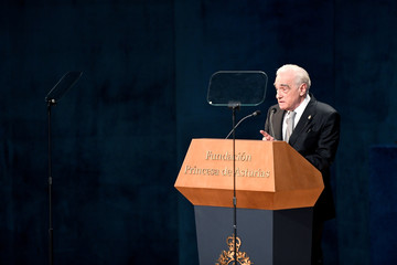 U.S. film director Martin Scorsese delivers a speech after receiving the 2018 Princess of Asturias award for Arts from Spain's King Felipe, during a ceremony at Campoamor Theatre in Oviedo
