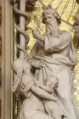 Moses lifts up the brass serpent, altar of the Holy Cross in Zagreb cathedral dedicated to the Assumption of Mary