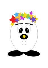 Comic Ei mit Sternen