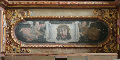 Veil of veronica altarpiece on the main altar in the chapel of St. Wolfgang in Vukovoj, Croatia