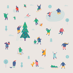 Winter season background people characters. Winter outdoor activities. People have fun. Flat vector illustration.
