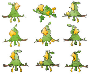 Canvas Prints Baby room Set of Cute Green Parrots for you Design. Cartoon Character