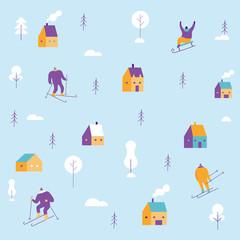 Winter people pattern. Skiing, sledding. Flat vector illustration.