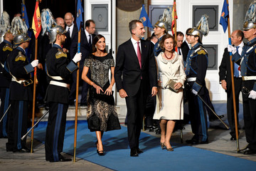 Spain's King Felipe, Queen Letizia and the King's mother, former Queen Sofia, leave the Princess of Asturias Awards at Campoamor Theatre in Oviedo