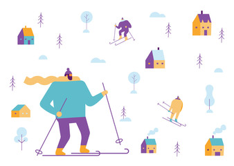 Winter people background. Skiing, sledding. Flat vector illustration.