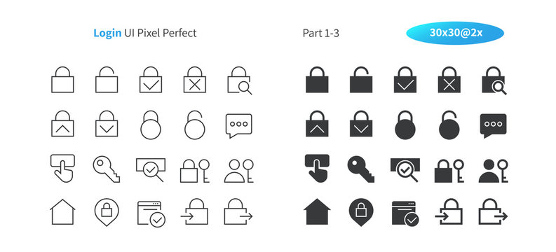 Login UI Pixel Perfect Well-crafted Vector Thin Line And Solid Icons 30 2x Grid for Web Graphics and Apps. Simple Minimal Pictogram Part 1-3