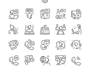 Call Center Well-crafted Pixel Perfect Vector Thin Line Icons 30 2x Grid for Web Graphics and Apps. Simple Minimal Pictogram