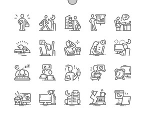 Working Late Well-crafted Pixel Perfect Vector Thin Line Icons 30 2x Grid for Web Graphics and Apps. Simple Minimal Pictogram